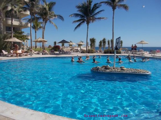 aqua aerobics swimming pool barcelo grand faro los cabos