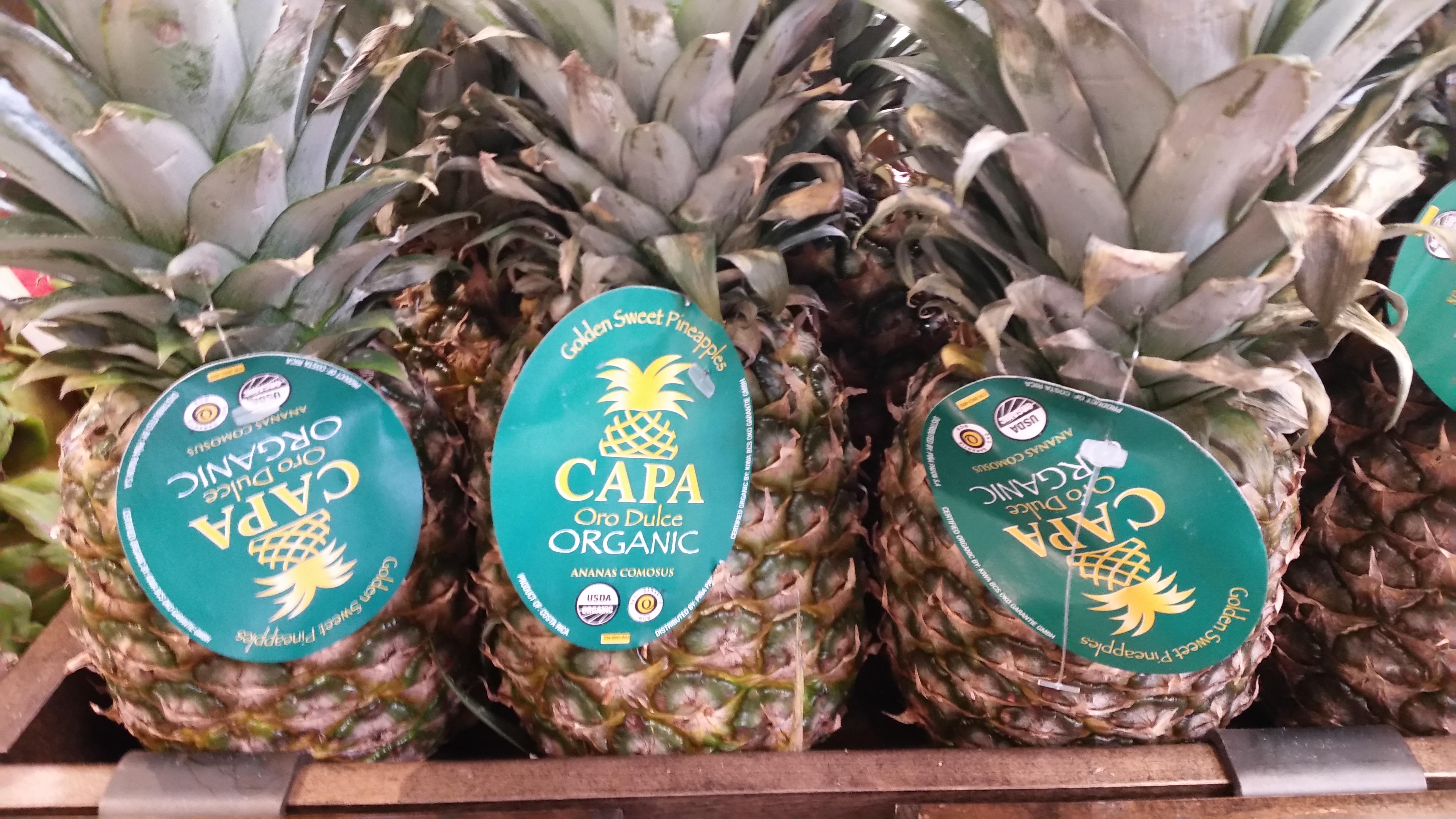Capa Oro Dulce organic pineapples from Costa Rica.
