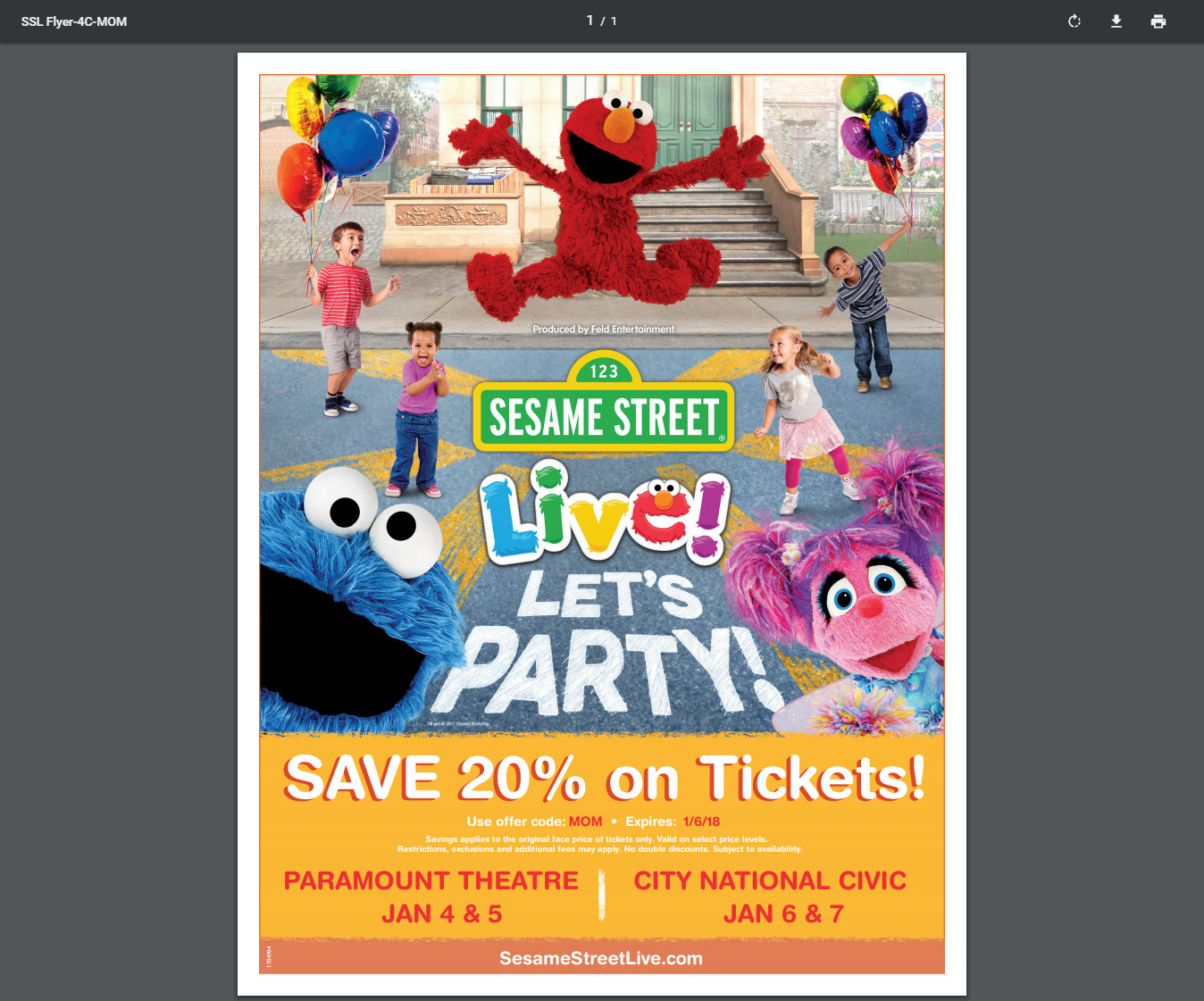 sesame street lets party promo code